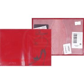 Обложка для паспорта из нат/кожи «Изящная кошка».O.31.SH.красный. 95х 135 мм.