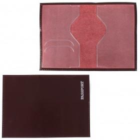 Обложка для паспорта н/к,   глад;   бордо;   тисн-PASSPORT