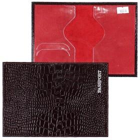 Обложка для паспорта н/к,   крок;   корич;   тисн-PASSPORT