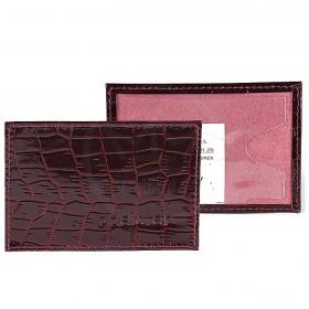 Обложка пропуск/карточка/проездной Premier-V-41 натуральная кожа бордо крокодил   (98)