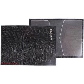 Обложка для паспорта н/к,   крок;   черн;    тисн PASSPORT