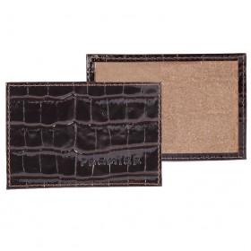 Обложка пропуск/карточка/проездной Premier-V-41 натуральная кожа коричн.темный крокодил   (83)