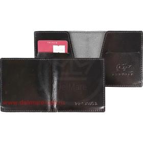 Портмоне мужское Premier-М-55 натуральная кожа 1 отд,    2 карм,    черный гладкий   (89)