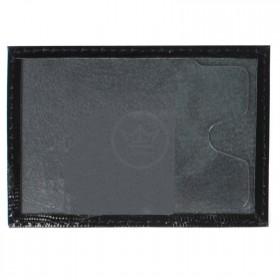Обложка пропуск/карточка/проездной Premier-V-41 натуральная кожа черный игуана   (100)