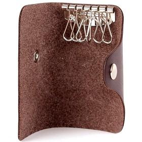 Футляр для ключей Premier-К-122   (на 6 ключей)    натуральная кожа коричн.темный шора   (51)