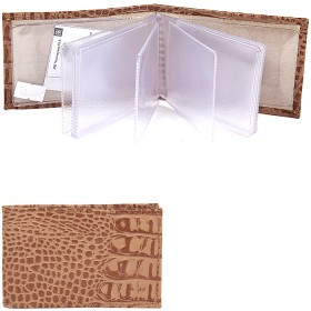 Визитница PRT-ФВ-1   (18 листов)    натуральная кожа бежевый кайман