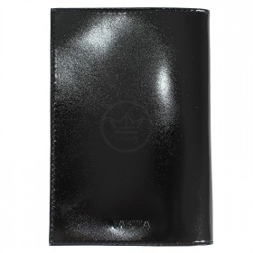 Обложка для паспорта из нат/кожи «Изящная кошка».O.31.SH.черный. 95х 135 мм.