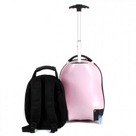 """Комплект 2в 1    (чемодан 47*25*34;    рюкзак 29*16*25) ,    пластик,    """"  Свинка"""" ,    розовый"""