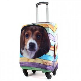 "Чехол для чемодана 24-M""     (24""  -70л) ,    полиэстер 100%,       (Собака)    коричневый"