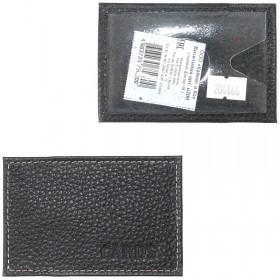 Обложка пропуск/карточка/проездной Croco-В-200 натуральная кожа черный флотер   (40)