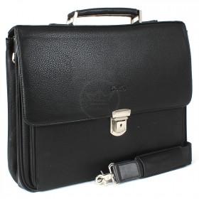Портфель искусственная кожа Cantlor-W 1757-01,    5отд+отд д/ноут,    2внеш+2внут карм,    плечевой ремень,    черный