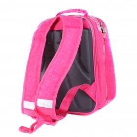 Рюкзак Арлион-370а жесткое эргоном спинка,    2отд на молнии,    4 внут отд,    1внеш карм,    светоотраж,    розовый    (I love music)