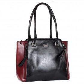 Сумка женская искусственная кожа ZEL-9127,    1отд+карм/пер,    черный/бордо