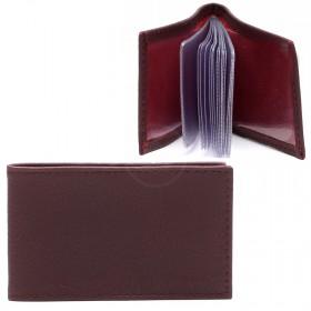 Визитница PRT-ФВ-1   (18 листов)    натуральная кожа бордо клементин