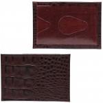 Обложка пропуск/карточка/проездной Croco-В-200 натуральная кожа бордо кайман   (68)