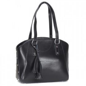 Сумка женская натуральная кожа RM-H-3350,    1отд+карм/пер,    черный